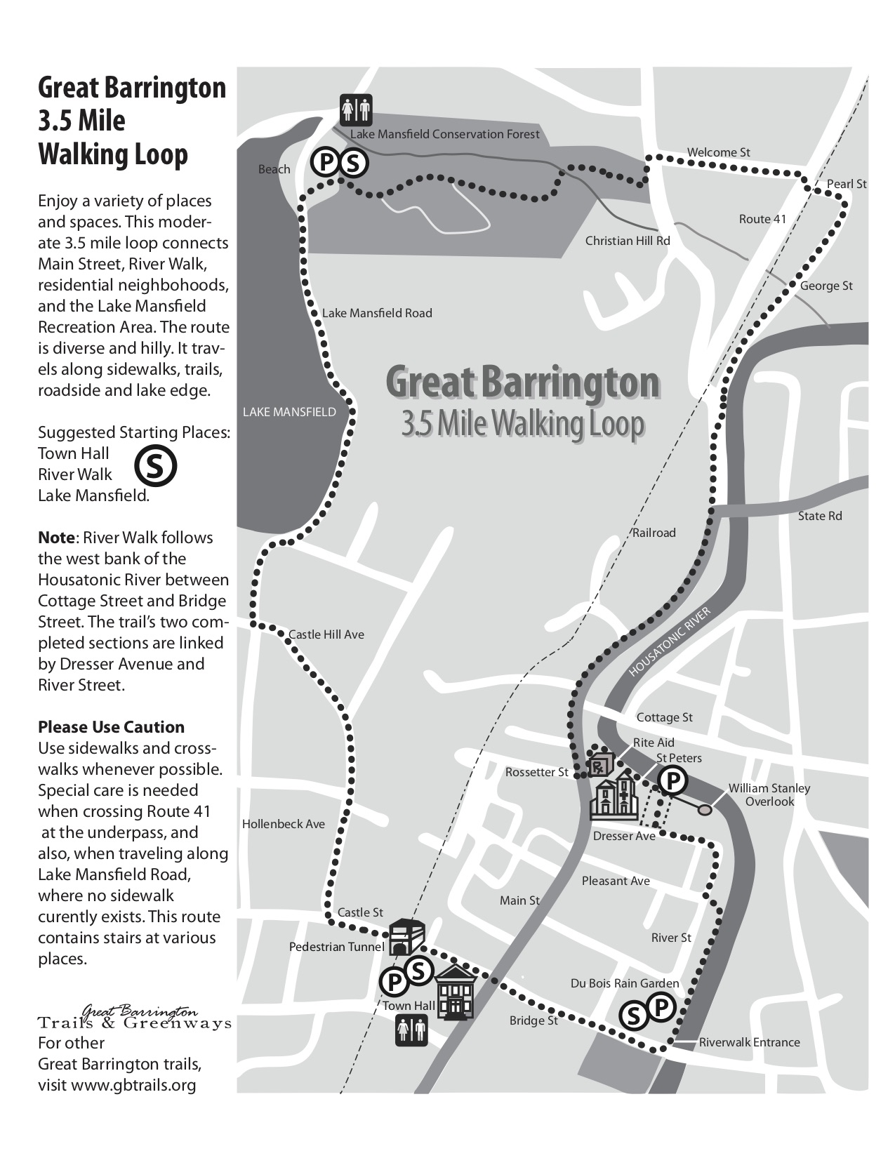 Great Barrington Walking Loop trail map