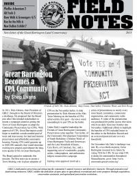 Great Barrington Land Conservancy Newsletter Cover - 2013