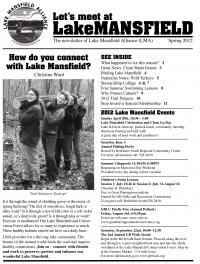 Lake Mansfield Newsletter Cover - 2012