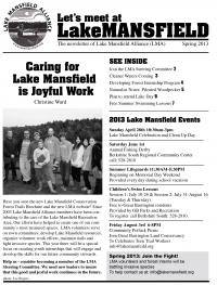 Lake Mansfield Newsletter Cover - 2013